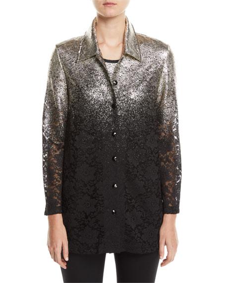 Berek Petite Speckle-Border Easy Shirt Jacket with Lace