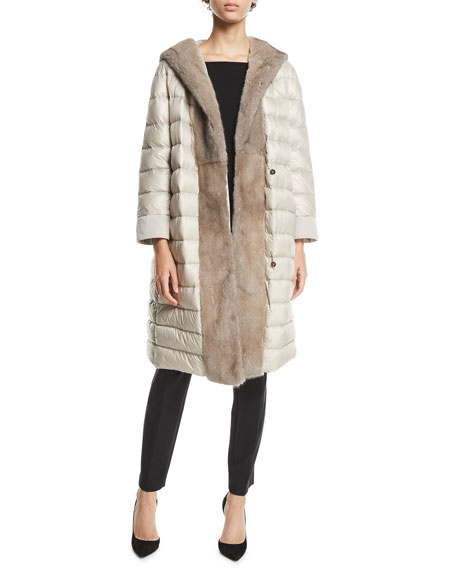Max Mara The Cube Here is the Cube Collection Urbaniv Reversible Down & Fur Coat