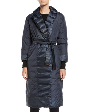 2b697e6236bb52 Max Mara The Cube Here is the Cube Collection Noveco Reversible Long  Taffeta Jacket w/