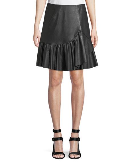 Vegan Leather Faux-Wrap A-Line Skirt