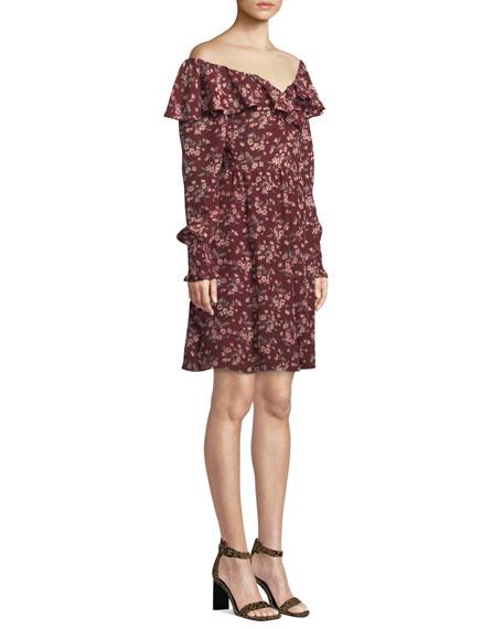 Tilda Floral-Print Ruffle Silk Dress
