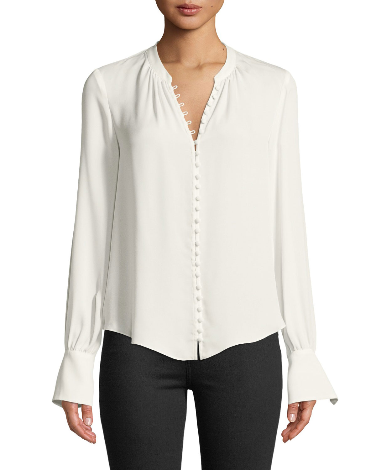 eb005bc5a0d9d Joie Tariana Button-Front Long-Sleeve Silk Blouse