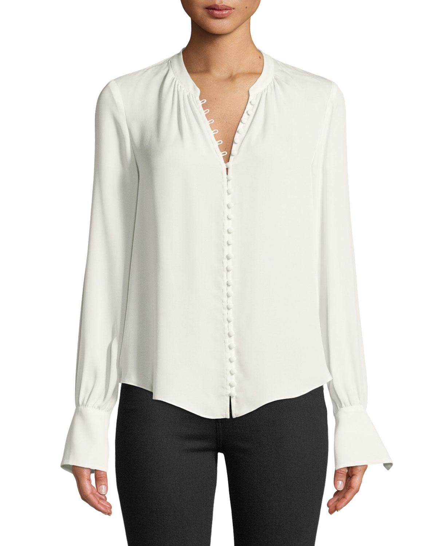 728ae319bd2cbf Joie Tariana Button-Front Long-Sleeve Silk Blouse