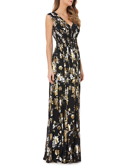 Kay Unger New York V-Neck Foiled Chiffon Dress w/ Smocked Waist