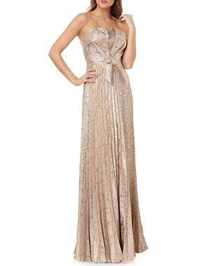 fdbb4b0f Kay Unger New York Strapless Metallic Jacquard Gown w/ Bow