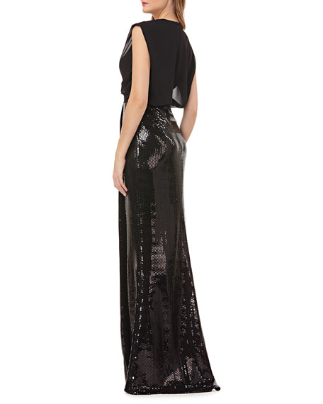 c20793a14d Image 3 of 4  Kay Unger New York Sleeveless Column Gown w  Sequin Skirt