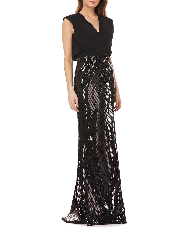 8534661dc1 Kay Unger New York Sleeveless Column Gown w  Sequin Skirt