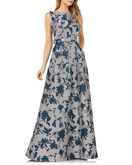 Kay Unger New York Belted Floral Gown w/ Mitered Stripes & Pockets
