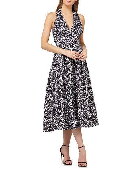 Kay Unger New York Halter Dress in Stretch Jacquard
