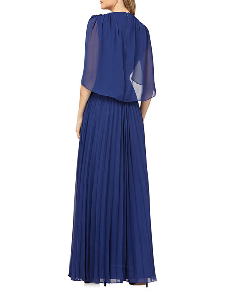 Kay Unger New York Pleated Chiffon Gown w/ Capelet