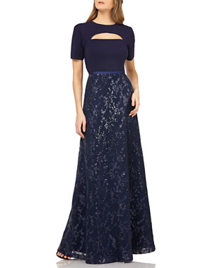 93430d04 Kay Unger New York Cutout Crepe Gown w/ Sequin Skirt
