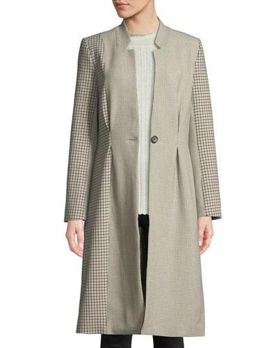 Paiton Check Button-Front Long Coat