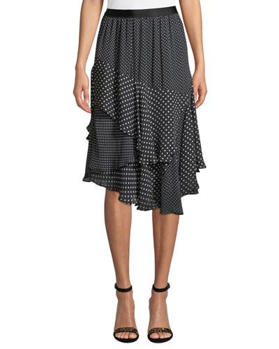 Deshay Tiered Polka-Dot Skirt