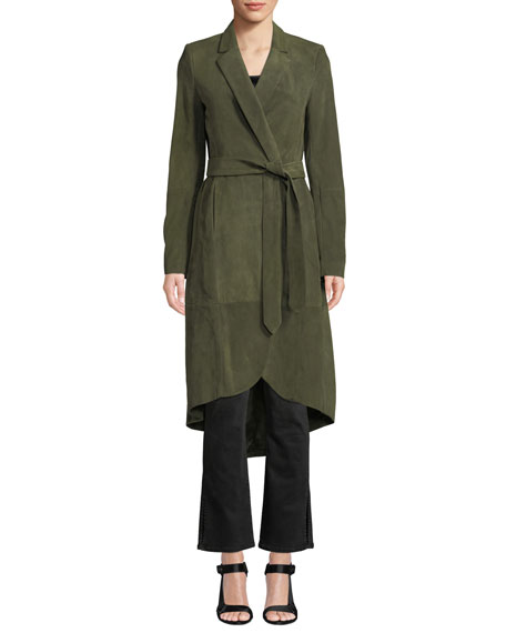 Karley Notched-Collar Suede Wrap Coat