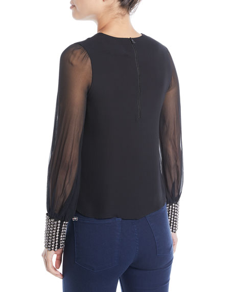 Vix Blouson-Sleeve Embellished-Cuff Top