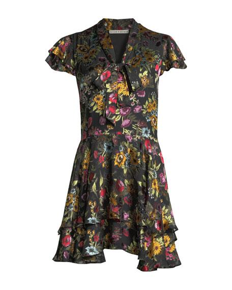 Alice + Olivia Moore Tie V-Neck Cap-Sleeve Layered Floral-Print Velvet Mini Dress
