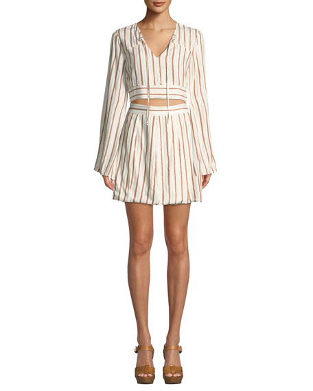 Tularosa Trisha Striped Metallic Short Skirt