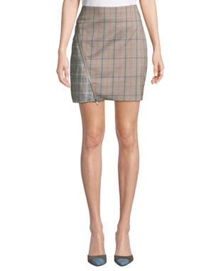 ba1520410b Lovers And Friends Brian Check Zipper Short Skirt