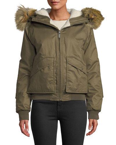Waterproof Insulated & Faux-Fur Hooded Bomber Jacket