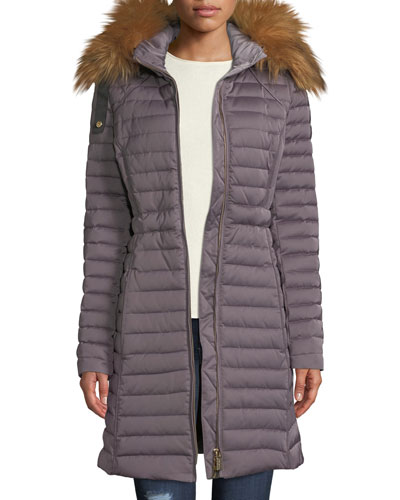 Refined Long Puffer Coat w/ Faux Fur Hood