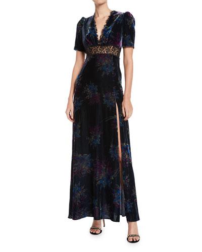 V-Neck Velvet & Lace Gown