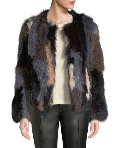 Multicolor Fox Fur Jacket