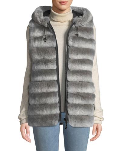 Reversible Fur Vest w/ Hood