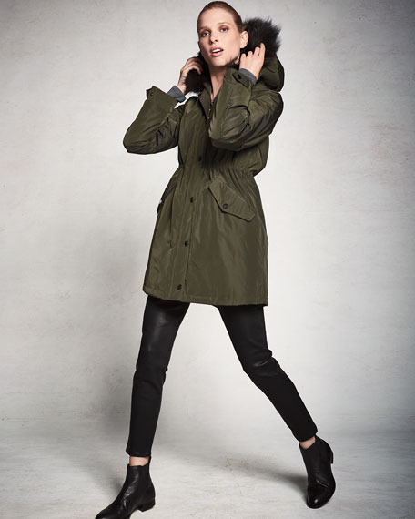 Belle Fare Hooded Microfabric Jacket w/ Fur Lining & Trim