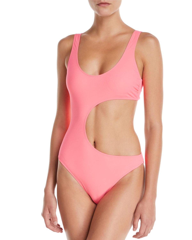 6967a25169f Stella McCartney 90s Fluo Scoop-Neck Cutout One-Piece Swimsuit ...