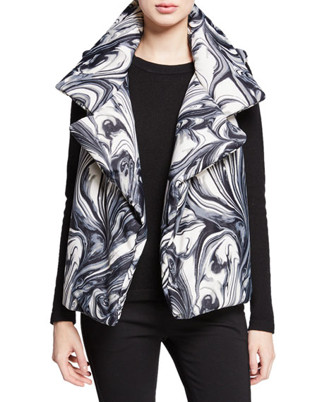 Norma Kamali Sleeping Bag Printed Open-Front Puffer Vest