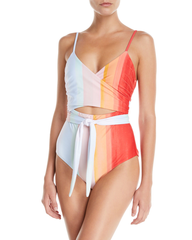 58586f9848 Mara Hoffman Isolde Striped Wraparound One-Piece Swimsuit | Neiman ...