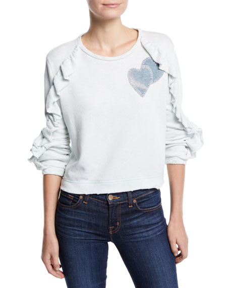 LOVESHACKFANCY DARON CROPPED RUFFLE PULLOVER SWEATER