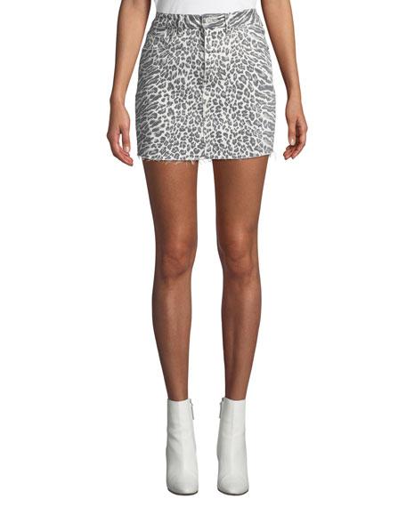 Current/Elliott The 5-Pocket Leopard-Print Denim Mini Skirt