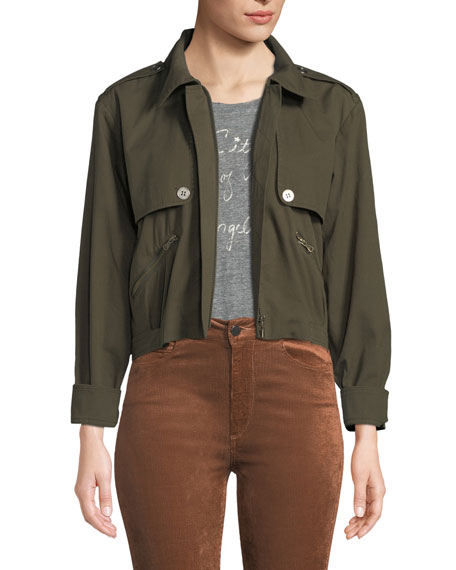 PAIGE Aubree Cropped Zip-Front Jacket