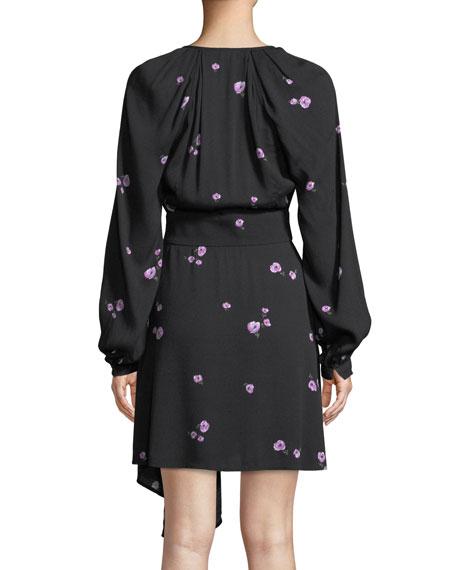 Alexandria V-Neck Long-Sleeve Tossed Blossom Mini Crepe Dress