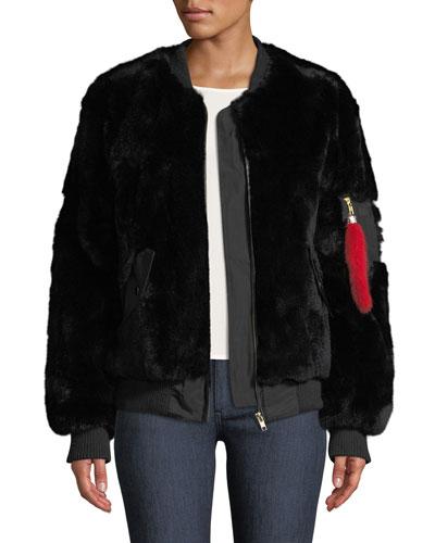Rex Rabbit Fur Varsity Jacket
