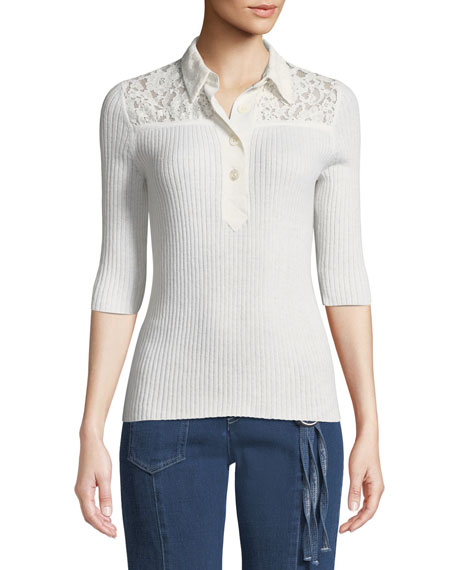 See by Chloe Collared Lace 3/4-Sleeve Button-Front Shirt