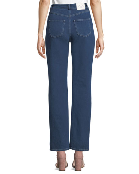 See by Chloe Straight-Leg Ankle Jeans with Braided Details