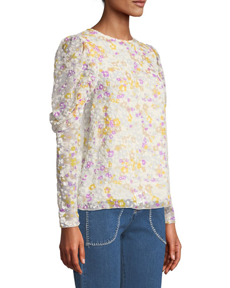 See by Chloe Floral Ruffle-Sleeve Crewneck Blouse