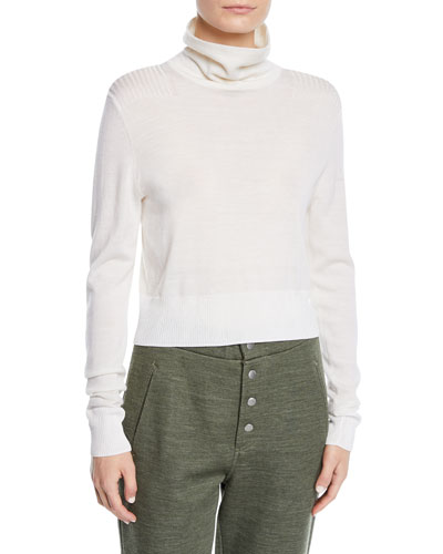 Doyle Funnel-Neck Cropped Pullover Sweater