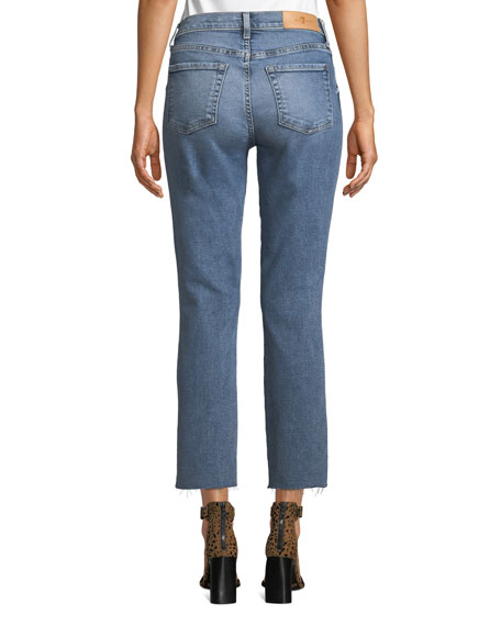 7 For All Mankind Edie Cropped Raw-Edge High-Rise Jeans