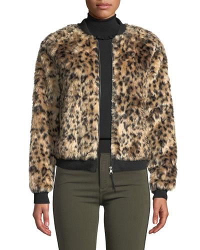 Leopard Faux-Fur Bomber Jacket