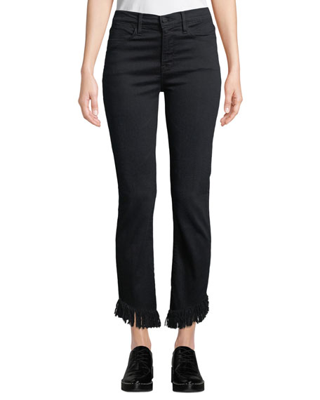 Image 1 of 3: FRAME Le High Straight-Leg Jeans with Shredded Hem