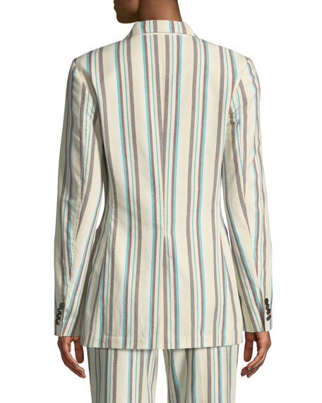 Image 2 of 3: Oversized Striped Cotton Blazer