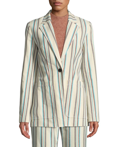 Image 3 of 3: Oversized Striped Cotton Blazer
