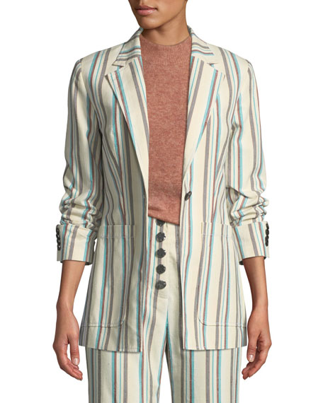 Image 1 of 3: Oversized Striped Cotton Blazer