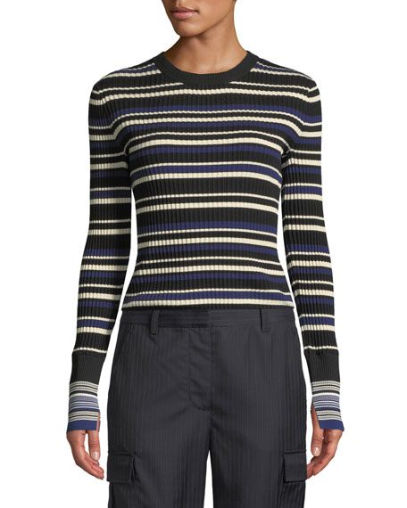 Image 3 of 3: 3.1 Phillip Lim Multi Striped Silk/Cotton Pullover Sweater