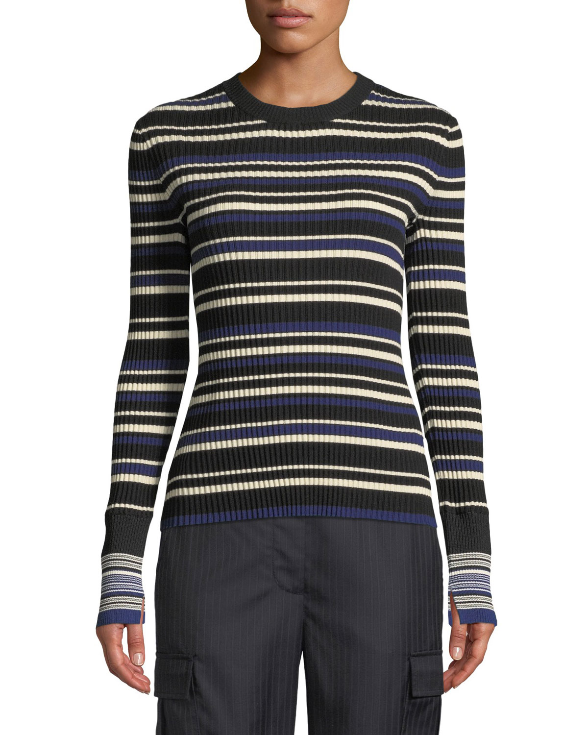 3.1 Phillip Lim Multi Striped Silk/Cotton Pullover Sweater
