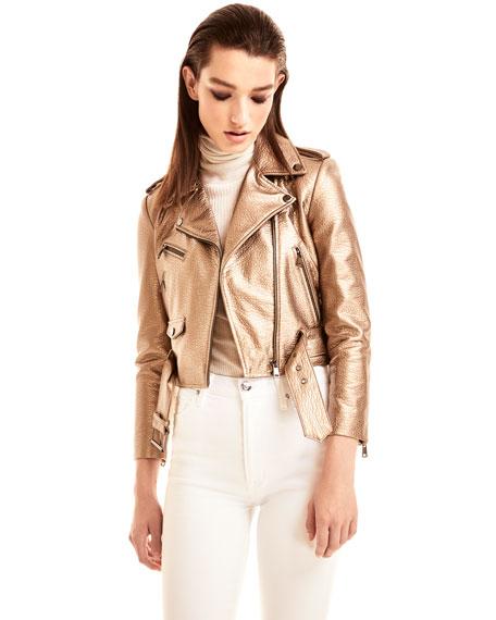 LaMarque Roberta Metallic Zip-Front Leather Moto Jacket