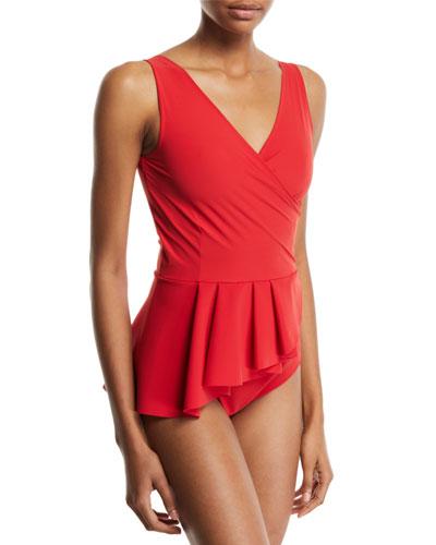 Arinette Floral Peplum One-Piece Swimsuit